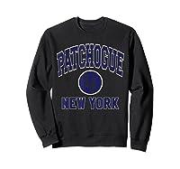 Patchogue Li Varsity Style Navy Blue Print Shirts Sweatshirt Black