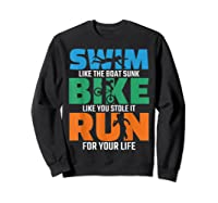 Swim Bike Run Triathlon Running Cycling Swimming Shirts Sweatshirt Black
