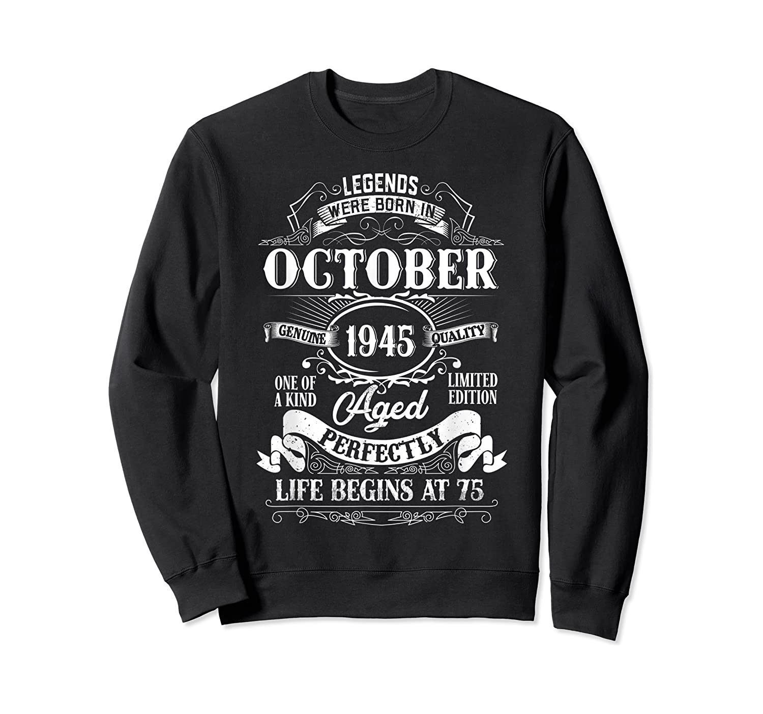 Vintage October 1945 75th Birthday Gifts For 75 Years Old Shirts Crewneck Sweater