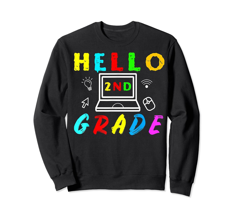 Hello 2nd Grade Tea Back To School Online Teaching T-shirt Crewneck Sweater