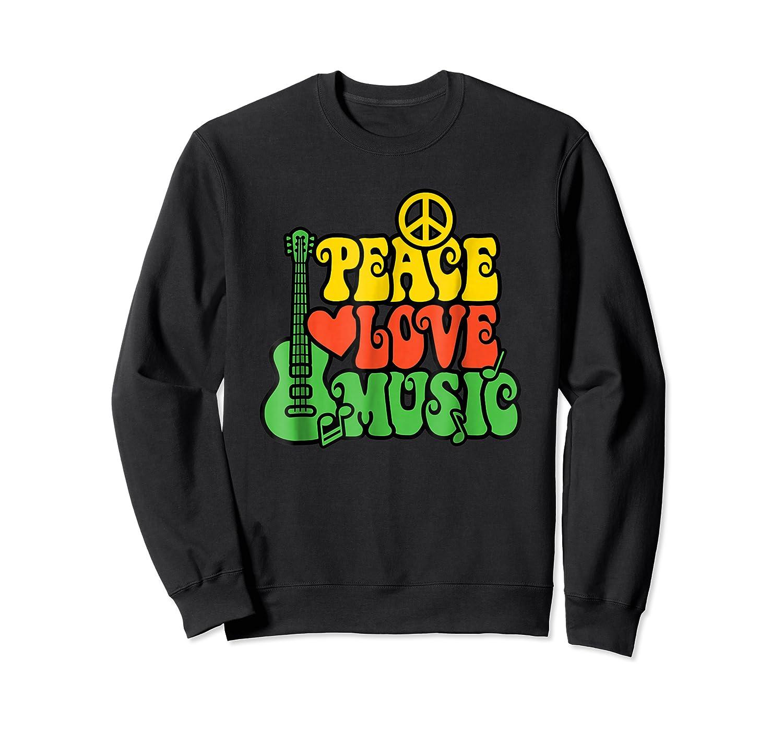 Peace Love Music Reggae Guitar T-shirt For Everyone Crewneck Sweater