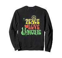 Peace Love Music Reggae Guitar T-shirt For Everyone Sweatshirt Black