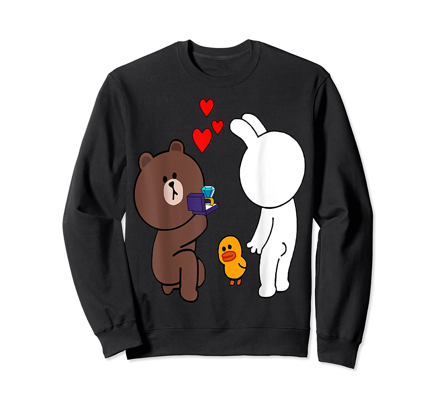 Brown Bear Cony Bunny Rabbit Engaget Ring Marriage Fiance Shirts Crewneck Sweater