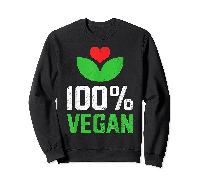 Proud 100 Vegan Vegetarian Vegetables Plant Lover Heart Shirts Crewneck Sweater