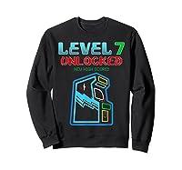 Level 7 Unlocked Birthday Gamer And Girls T-shirt Sweatshirt Black