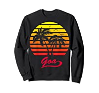 Goa 80s Summer Beach Palm Tree Sunset Shirts Sweatshirt Black