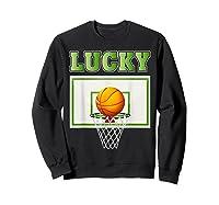 Leprechaun Lucky Basketball St Patrick's Day Shirts Sweatshirt Black