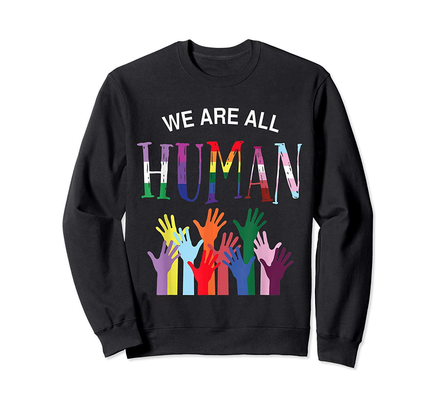 We Are All Human For Pride Transgender, Gay And Pansexual T-shirt Crewneck Sweater