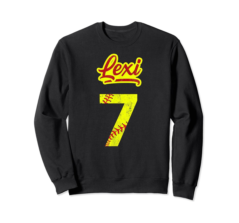 Lexi Softball No #7 Number 7 Girl Cat & Pit T-shirt Crewneck Sweater