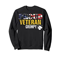 Proud Veteran Grumpy With American Flag Veteran Day Gift Shirts Sweatshirt Black
