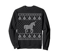 Unicorn Ugly Christmas Sweater, Funny Holiday Gift Shirts Sweatshirt Black