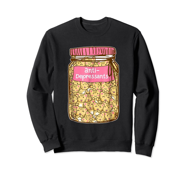 Antidepressant Cat Tshirt Kitty Happy Pills Cute Crewneck Sweater