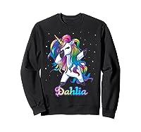 Name Rainbow Unicorn Dabbing Shirts Sweatshirt Black