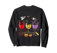 Pumpkin Halloween Wine Glasses Funny Shirts Sweatshirt Black