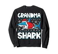Grandma Shark Santa Christmas Family Matching S Shirts Sweatshirt Black