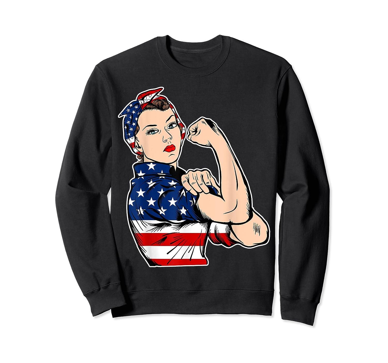 Rosie The Riveter Bandana Feminist Usa Flag 4th Of July T-shirt Crewneck Sweater