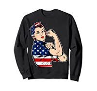Rosie The Riveter Bandana Feminist Usa Flag 4th Of July T-shirt Sweatshirt Black