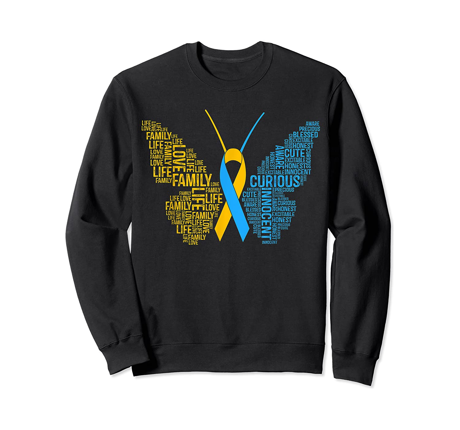 Down Syndrome Awareness Butterfly T-shirt Support Gift Shirt Crewneck Sweater