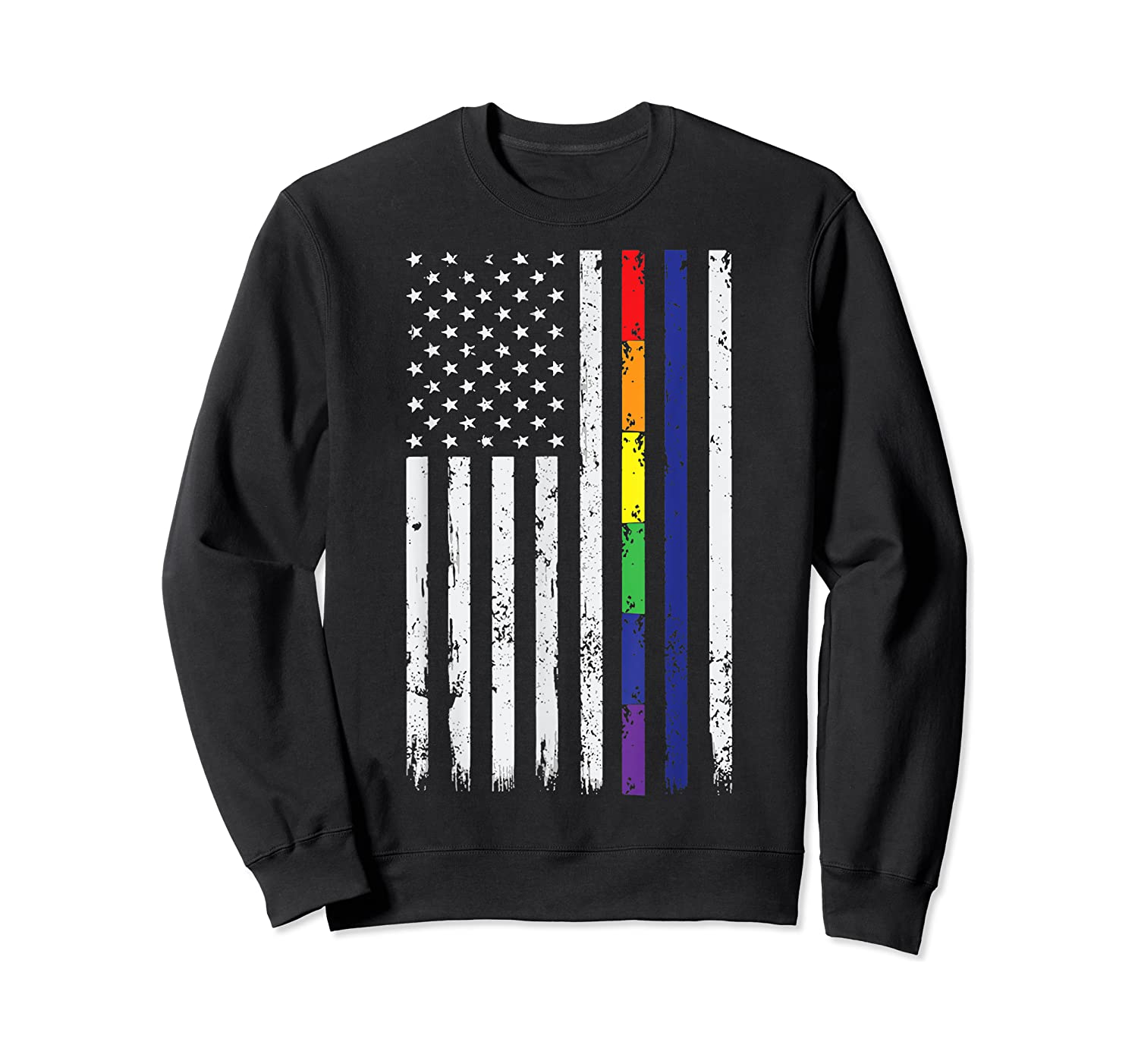 Police Support Lgbt Gay Pride Thin Red Line Rainbow Flag Fun T-shirt Crewneck Sweater