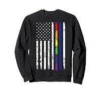 Police Support Lgbt Gay Pride Thin Red Line Rainbow Flag Fun T-shirt Sweatshirt Black