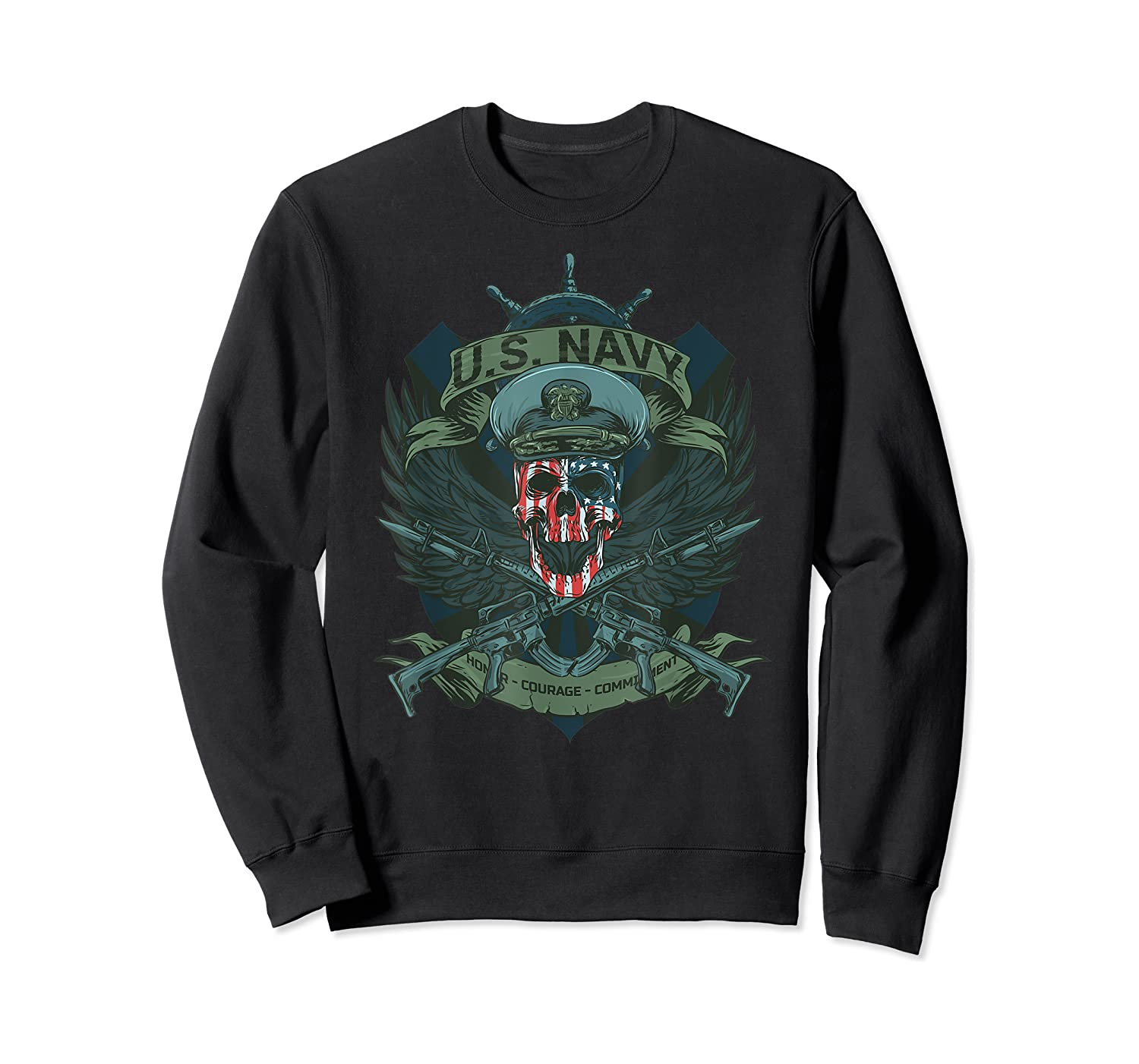S Us Navy - Honor, Courage, Committ T-shirt For Patriots Crewneck Sweater