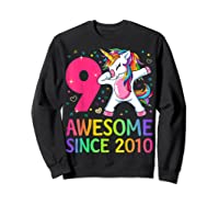 9 Years Old 9th Birthday Unicorn Dabbing Girl Party Shirts Sweatshirt Black