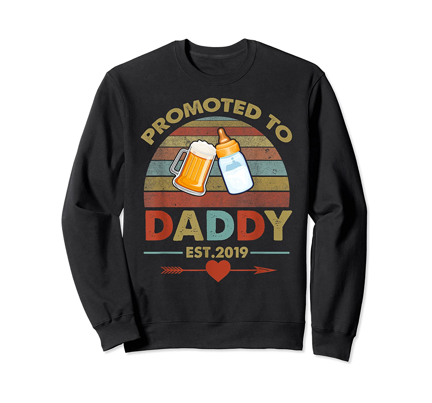 Promoted To Daddy Est 2019 Vintage Arrow T-shirt Crewneck Sweater