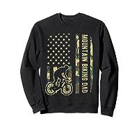 Mountain Biking Dad Camouflage American Flag Fathers Day Shirts Sweatshirt Black