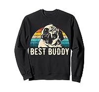 Retro Pug Gift Shirts Sweatshirt Black