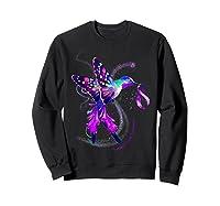 Hummingbird Purple Ribbon Pancreatic Cancer Awareness Shirts Sweatshirt Black
