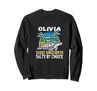 Personalized Olivia Design Sassy & Salty Quote Beach Lover Premium T-shirt Sweatshirt Black