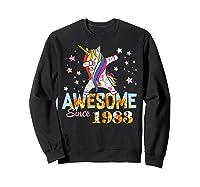 Dabbing Unicorn Awesome Since 1983 36th Birthday Gift 36 Yrs Shirts Sweatshirt Black