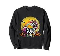 Unicorn Skeleton Pumpkin Funny Unicorn Halloween Horror Gift T-shirt Sweatshirt Black