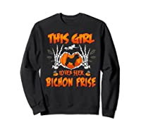 This Girl Loves Her Bichon Frise Dog Halloween Costume Shirts Sweatshirt Black