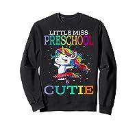 Little Miss Preschool Cutie Unicorn Back To School Girls T-shirt Sweatshirt Black