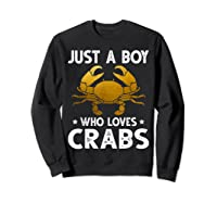 Just A Boy Who Loves Crabs Cute Animals Lovers Shirts Sweatshirt Black