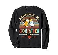 Promoted To Godfather Est 2019 Vintage Arrow Shirts Sweatshirt Black