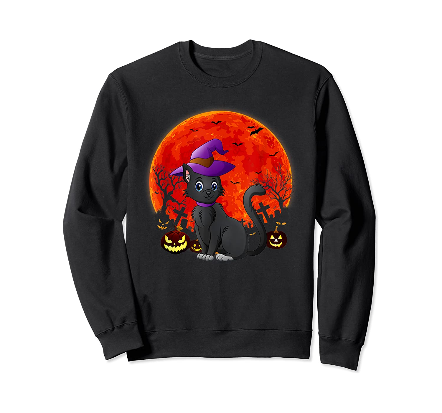Vintage Scary Halloween Black Cat Costume Witch Hat & Moon T-shirt Crewneck Sweater
