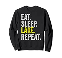 Eat Sleep Lake Repeat Summer Boating Vacation Boat Premium T-shirt Sweatshirt Black