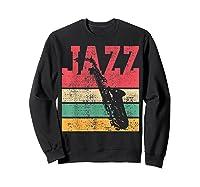 Saxophone Baritone Jazz Music Retro Vintage Gift T-shirt Sweatshirt Black
