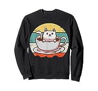 Coffee Cats Retro Vintage Gift T-shirt Sweatshirt Black