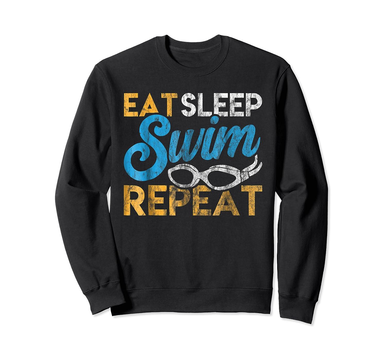 Eat Sleep Swim Repeat Funny Swimmer Gif Shirts Crewneck Sweater