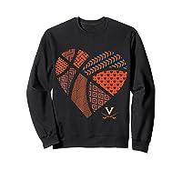 Virginia Cavaliers Patterned Heart Apparel Shirts Sweatshirt Black