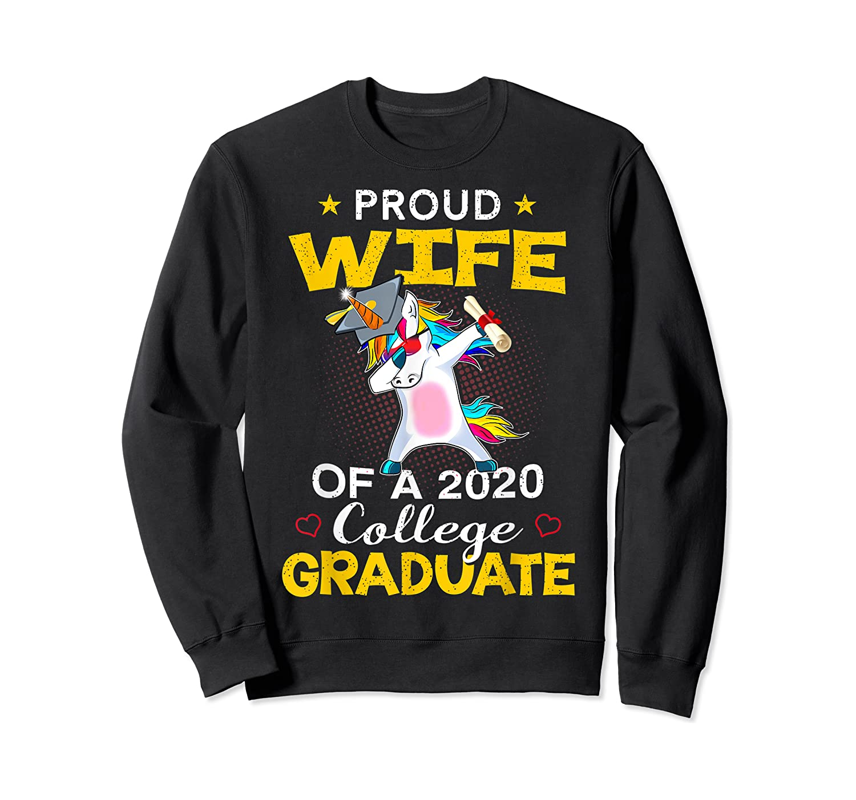 Proud Wife Of A 2020 College Graduate Unicorn Dabbing Gift Shirts Crewneck Sweater