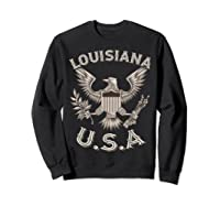 Louisiana Usa Patrio Eagle Vintage Distressed Shirts Sweatshirt Black