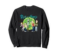 Rick & Morty Family Group Portal With Logo T-shirt Sweatshirt Black