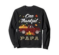 One Thankful Papa Truck Thanksgiving Day Family Matching T-shirt Sweatshirt Black