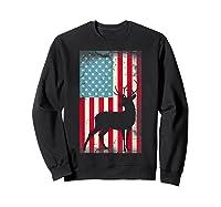 American Flag Deer Hunter, Patriotic Gift Idea For T-shirt Sweatshirt Black