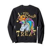 Unicorn Pumpkin Shirts Sweatshirt Black