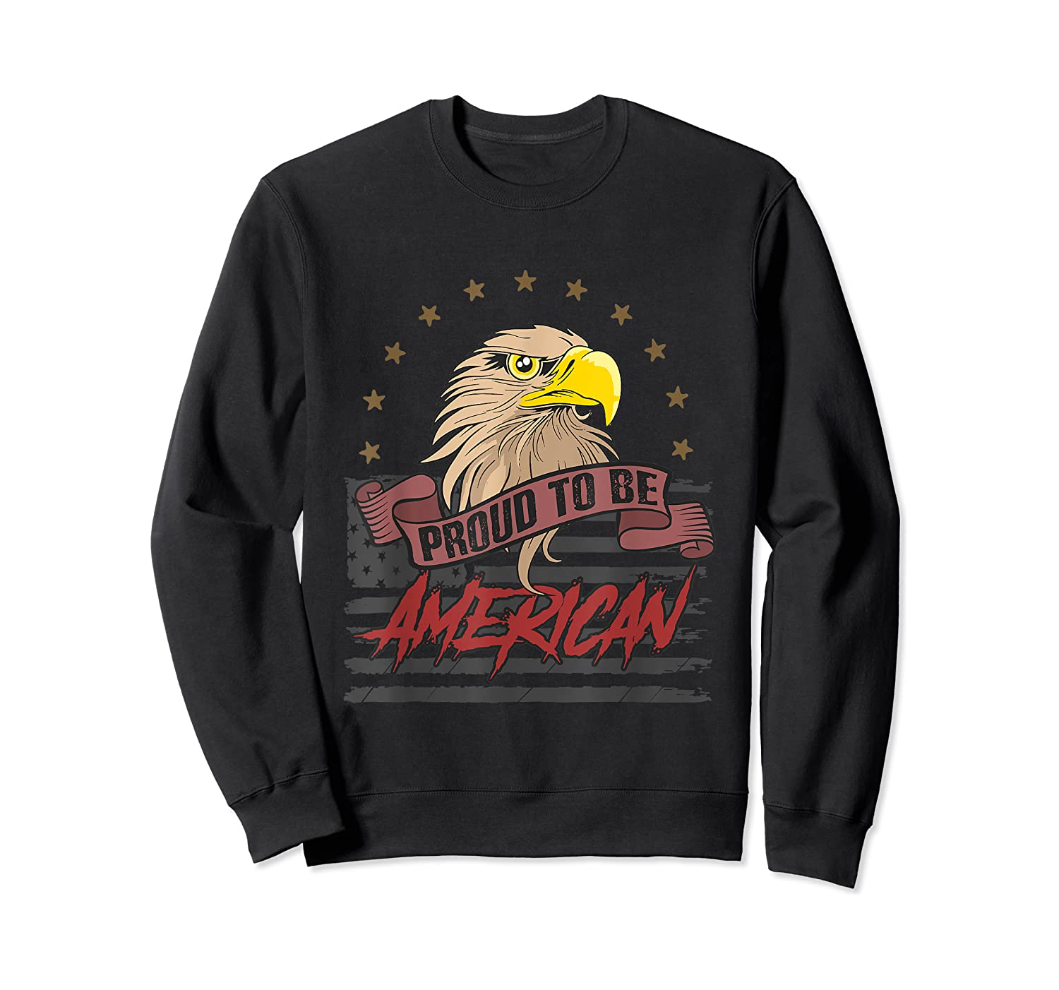 Cool American Flag Eagle Powerful Us Army Patriot Gift T-shirt Crewneck Sweater